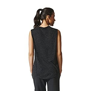adidas Womens Athletics Graphic Drop Hem Muscle Tee, Black, Small