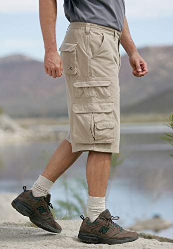 829a56eb11 Boulder Creek Men's Big & Tall Side-Elastic Twill Cargo Shorts ...