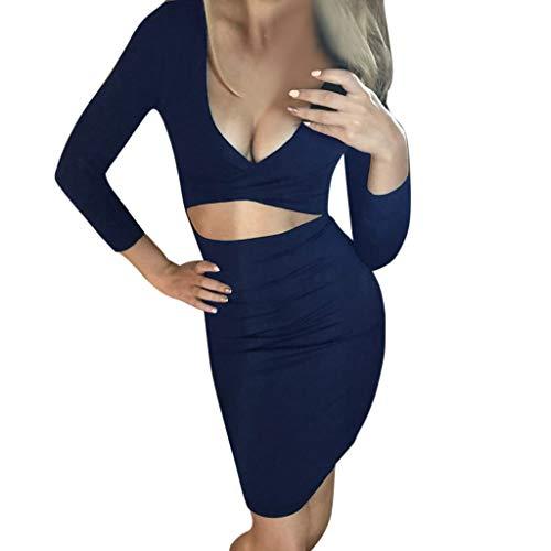 Pgojuni Women's Autumn and Winter Sexy V-Neck Bag Hip Clubwear Long-Sleeved Dress ()