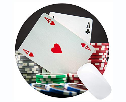 Gaming Mouse Mat, Poker Card Rubber Mousepad Stitched Border