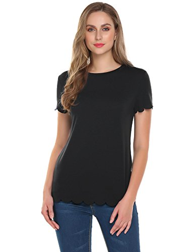 Concep Womens Top Short Sleeve Round Neck Casual T Shirt Scallop Hem Cute Blouse