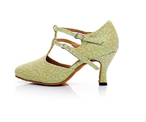 Our35 5cm heeled7 Salsa Floral Satin 5 Shoes EU34 JSHOE Para Indoor Mujer Green UK3 Tango Ballroom Dance Latin C4nTASq