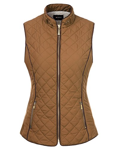 Beige Womens Quilted Vest (Doublju Quilted Padding Zip-Up Vest With Pockets (Plus size available) CAMEL LARGE)