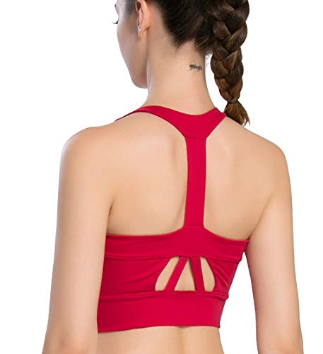 Campeak Professional Sport Bras High Impact Support Workout Tops for Women(Red L)