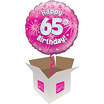 InterBalloon Helium Inflated Happy 65th Birthday Pink Holographic Balloon Delivered In A Box