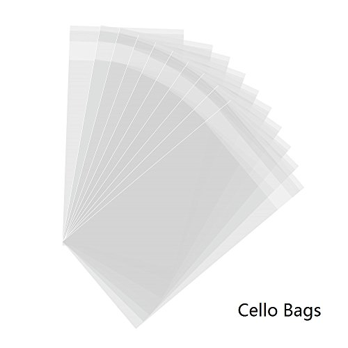 4''x7'', 200PCs Clear Cello Bags Resealable Adhesive Treat Bags OPP 1.6 Mil Cellophane Wrap for Cookies, Wedding Party Favors, Bakery, Valentine (Cello Treat Bags)