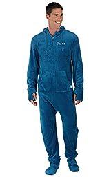 PajamaGram Men\'s Hoodie-Footie Blue Fleece Onesie Pajamas