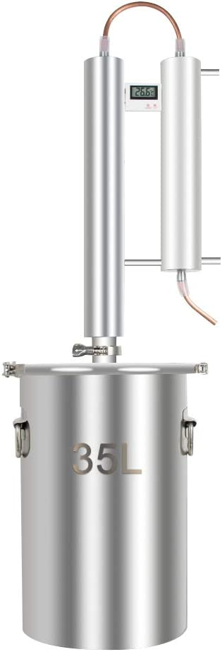 Alcohol Distiller, Home Brewing Kit Moonshine Ethanol Still Wine Making Starter Sets Stainless Steel Boiler, US Shipping (35L)