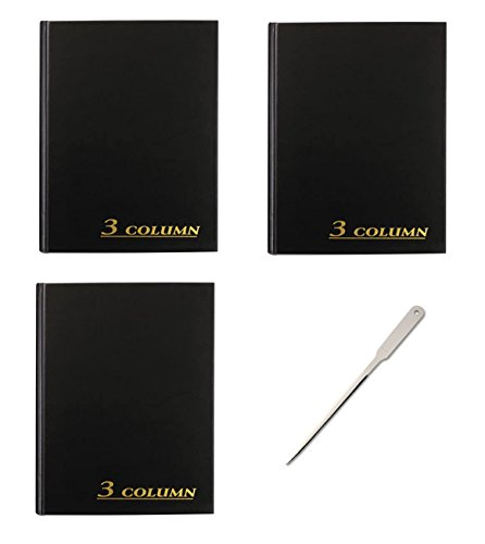 Adams Account Book, 7 x 9.25 inches, Black, 3-Columns, 80 Pages, 3 Books (ARB8003M) - Bundle Includes a Letter Opener by Adams