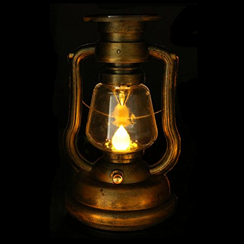Solar Lantern, LifeGenius Yellow Flickering LED Flameless Light Rustic Vintage Mini Oil Wall Lamp For Decoration Of Halloween House Garden (Vintage Halloween Lantern)