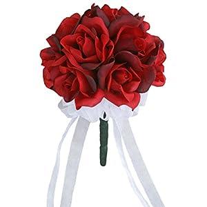 Red Silk Rose Toss Bouquet - Silk Wedding Toss Bouquet 30