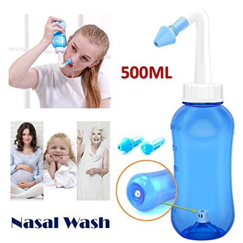 Tonelife 500ML Nettie Pot 18oz 2Nozzle Nose Cleaner Adjustable Hydro Nasal Wash Cleaning & Sinus Irrigation System with Physiological Saline for Adult Kid Allergic Rhinitis Nasal Irrigation Pot -