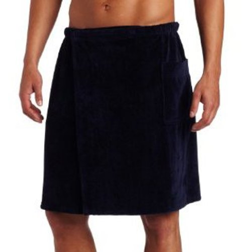 - Pure Cotton Terry Cotton Bath Spa Men's Wrap Towels, One Size, Navy Blue Color