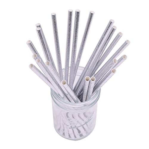 YONGSNOW 100 Pcs Biodegradable Paper Straws Bulk Rose Gold Drinking Straws for Party Supplies Birthday Wedding Decorations (P01)