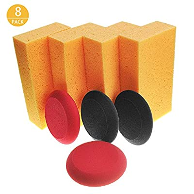 Airpro Car Wash Sponge Extra Large Size Washing Cellulous Microfiber Super Absorbent Multi-Use Cleaning Sponge (Pad and Sponge, 8 Pack): Automotive