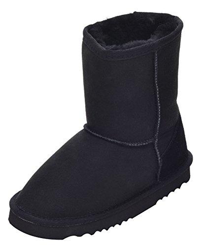 Lambland Kinder Echte Schaffell Stiefel mit Verstärkter Ferse und strapazierfähiger Sohle Schwarz