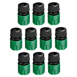 ECYC 10Pcs 1/2 Inch Fast Coupling Adapter Garden Hose Quick Connect Water Pipe Connector, Green