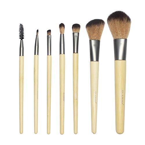 LeSB Cosmetics Make-Up Pinsel Set aus nachhaltigem Bambus mit Tasche, 1er Pack (1 x 7 Stück)