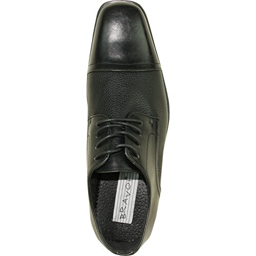 Bravo Men Dress Shoe New Kelly-2 Classic Cap Emmert Con Fodera In Pelle Nera Opaca