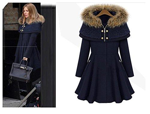 Moda para mujer manga larga delgada capa de lana del cabo Blue