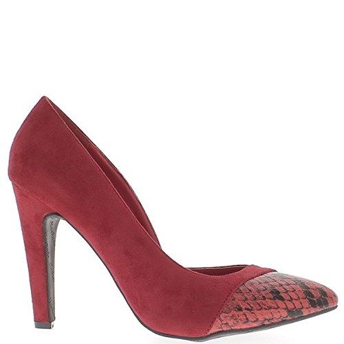 Escarpins grande taille rouges à talons de 11,5cm pointus écailles