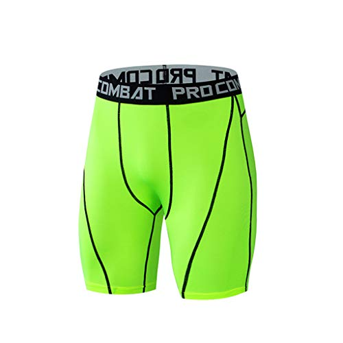 JJLIKER Men's Compression Short Leggings Performance Base Layer Tights for Workouts Running Sports Training All Weather Green ()