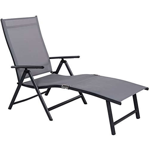 Sundale Outdoor Deluxe Aluminum Beach Yard Pool Folding Chaise Lounge Chair Recliner Outdoor Patio (Long Patio Chair)