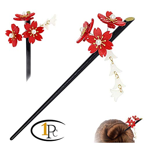 Acrylic Geisha Hair Stick with Red Acrylic Cherry Blossom Cluster and Tassel (Red)