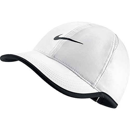 - NIKE Women's AeroBill Featherlight Tennis Cap, White/Black/Black, One Size