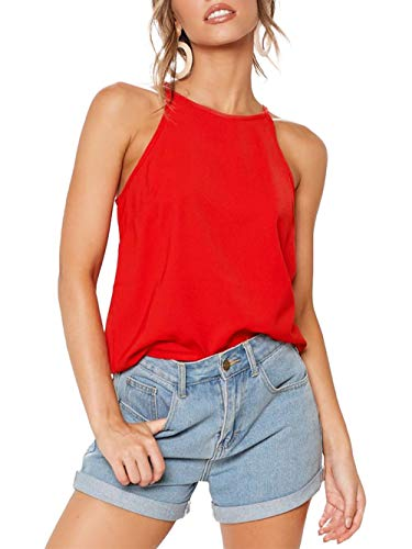 LouKeith Womens Tops Sleeveless Halter Racerback Summer Casual Shirts Basic Tee Shirts Cami Tank Tops Beach Blouses Tomato S ()
