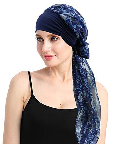 Fabric Turban - Cancer Head Scarves Print Headcover for Hair Loss Women Sleeping Cap Lightweight Fabric Turbans Navy Blue