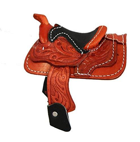 - Miniature Saddle Display Genuine Tooled Leather 2