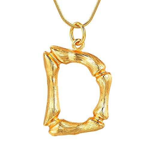 FOCALOOK Initial Necklace, 18k Gold Plated Bamboo Monogram Capital Alphabet Charms Surgical Stainless Steel Pendant with Snake Chain Women Men Party Fashion Jewelry Letter ()
