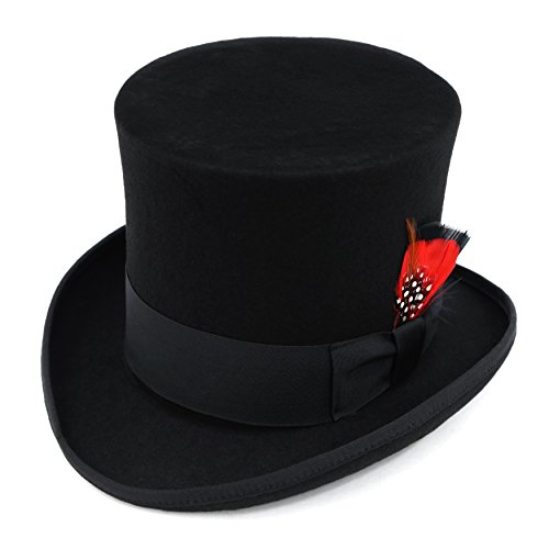 Wool Felt Top Hat Adult (Ferrecci Men's Luxury Wool Felt Top Hat - Many Colors)
