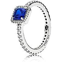 PANDORA Timeless Elegance, True Blue Crystal & Clear CZ 190947NBT-54 EU 7 US