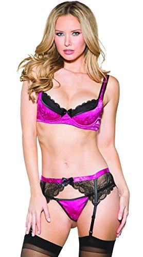 (Shirley of Hollywood 3pc Bra, Garter Belt, G-String Raspberry Large)