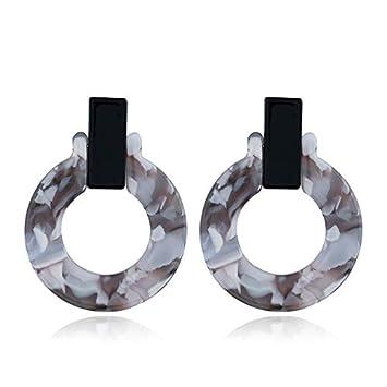Jianxingzhi Plastic Earrings Geometric Earrings Women,White