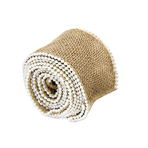Healifty Burlap Ribbon Roll with Small Pearl 2.4