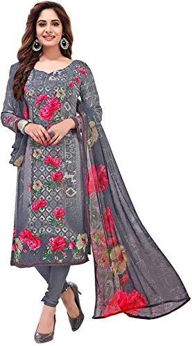 Pink Wish Women's Crepe Salwar Suit Dress Material (Grey, Grey)