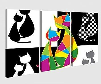 Foto en Lienzo 3 Piezas Gato Gatos Par Amor Animales Negro Cartoon Imagen Abstracta Fotos de