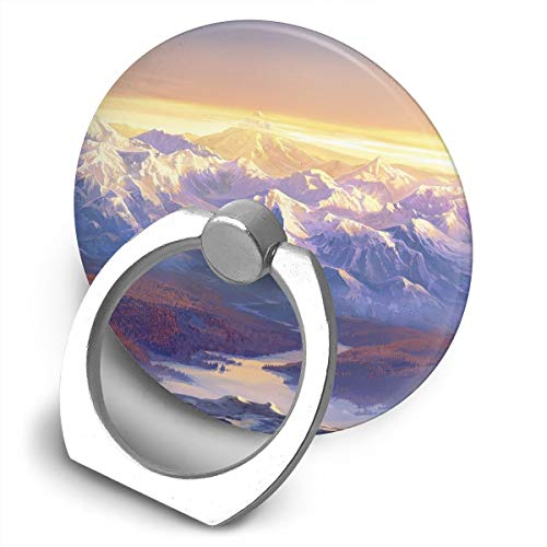 (Cell Phone Finger Ring Holder Snowy Mountain Paint 360 Degree Rotating Stand Grip Mount Phone Bracket)