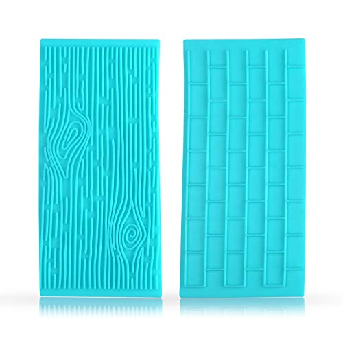 Quilted Fondant impression Mat Texture Mold Set with Brick Wall and Tree Bark Fondant Molds (Press Brick Fondant)