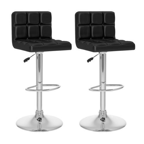 CorLiving B-407-UPD High Back Adjustable Bar Stool, Black Leatherette, Set of 2