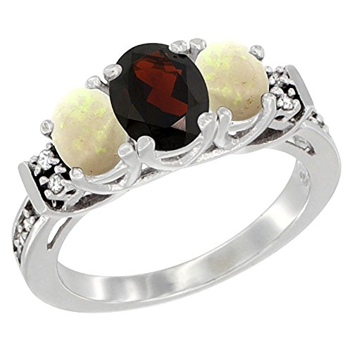 14K White Gold Natural Garnet & Opal Ring 3-Stone Oval Diamond Accent, size 6.5 by Silver City Jewelry