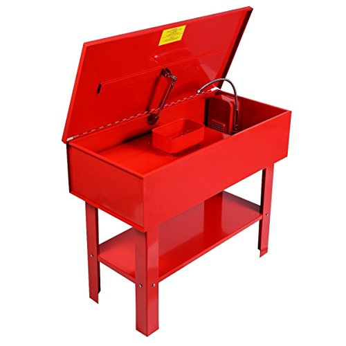 Globe House Products GHP 43''x21''x35'' 40-Gallon Tank Capacity Red Steel 5.28GPM Fusible Link Parts Washer by Globe House Products (Image #1)