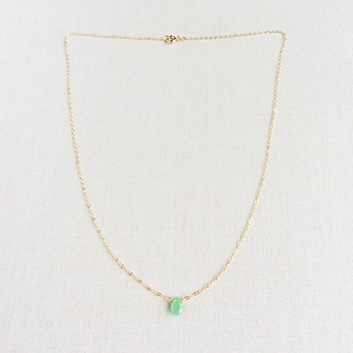 Chrysoprase Necklace, Green Stone Necklace, Dainty Necklace Gold, 14k Dainty Gold Necklace, Tiny Stone Necklace, 14k Gold Necklace 7mm by 5mm