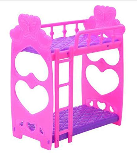 Ocamo Lanlan Cute 3.5 Inch Plastic Double Bed Frame for Kelly Barbie Doll Bedroom Furniture Accessories Purple Pink Or Pink Yellow Color Random