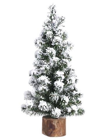 1pc, Artificial Snowy Alpine Tree on Wood Stand - 15'' Tall