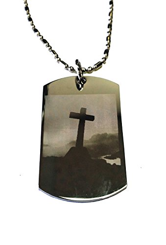 Christian Jesus Christ Cross Philippians 4:6-7 Pendant Double Sided Logo - Military Dog Tag, Luggage Tag Metal Chain Necklace by DOG TAGS