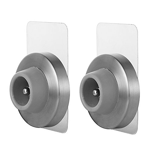 JQK Door Stopper, Sound Dampening Door Stop Bumper Wall Protetor with Grey Rubber 2 Pack, Adhesive or Wall Mount Brushed Nickel, Stainless Steel ()